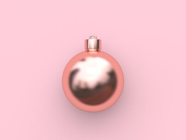 Rosa metálico rosa ouro reflexão bola-natal bola abstrato mínimo rosa natal feriado ano novo renderização em 3d Foto Premium