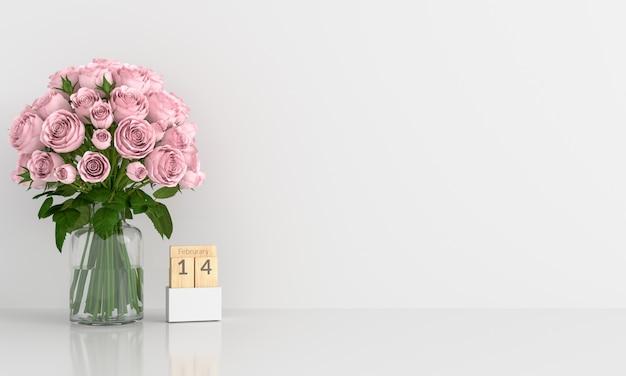 Rosa rosa na sala branca para maquete Foto Premium