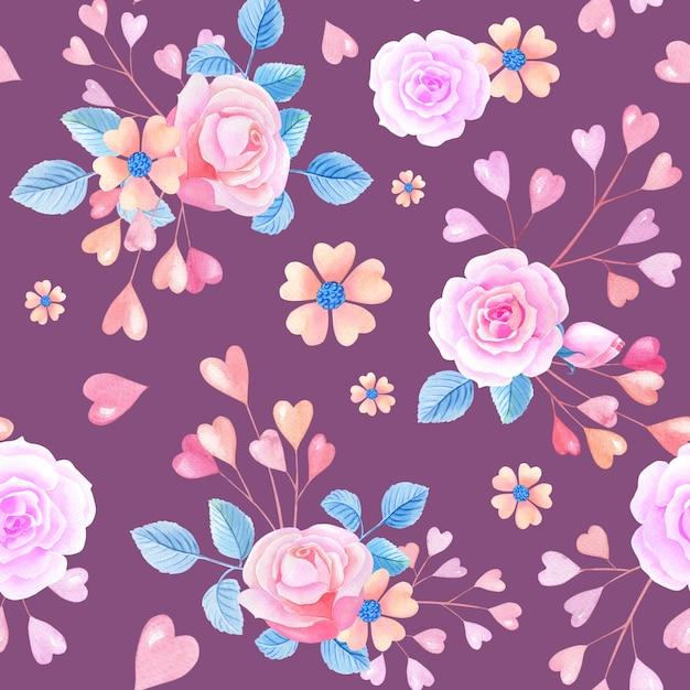Rosas aquarela cor de rosa, corações em fundo lilás. padrão sem emenda com flores abstratas. Foto Premium