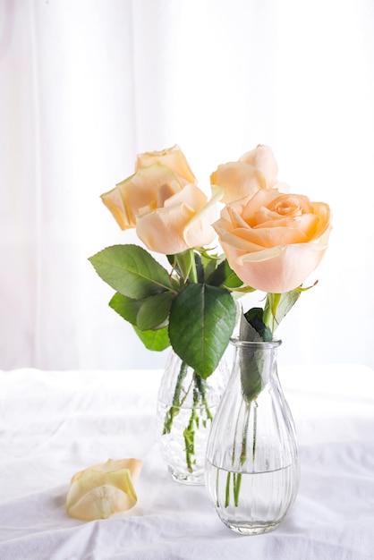 Rosas bege do corte fresco bonito no vaso de vidro no fundo claro. Foto Premium