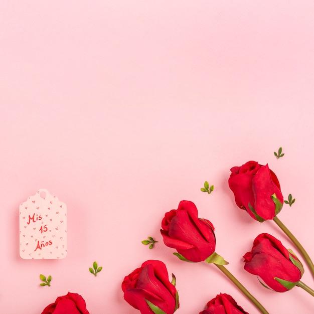 Rosas em fundo rosa com espaço de cópia Foto gratuita