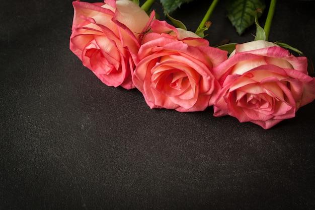 Rosas rosas em fundo preto Foto Premium