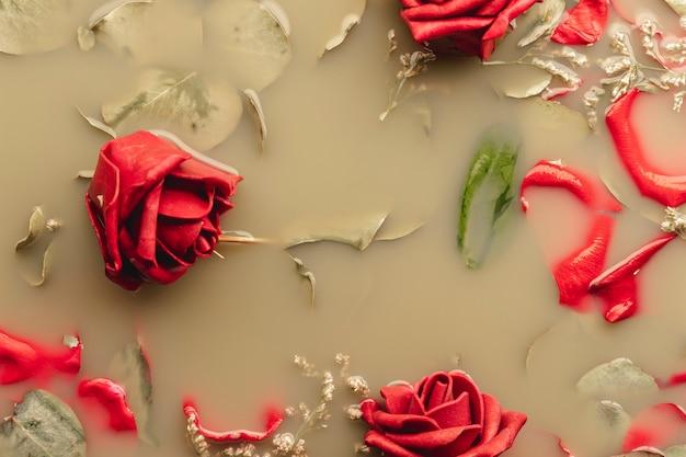 Rosas vermelhas e pétalas na água marrom Foto gratuita