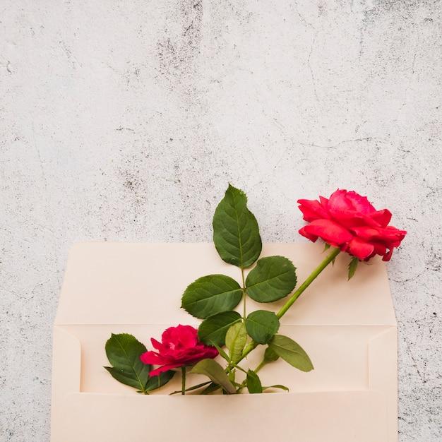 Rosas vermelhas no envelope de papel contra o fundo danificado Foto gratuita