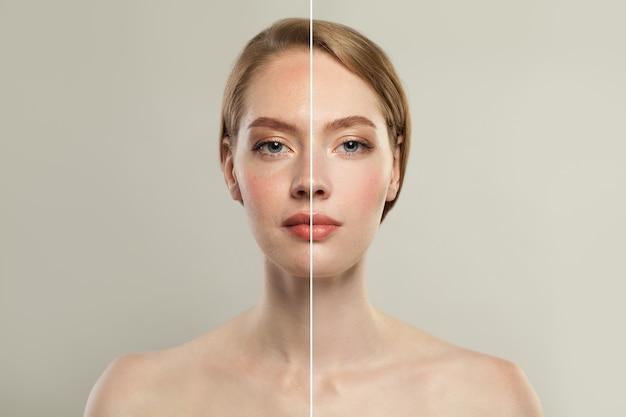 Rosto de mulher jovem modelo com retoque e sem retoque. Foto Premium