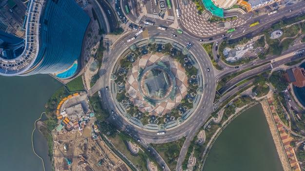 Rotunda em macau, vista aérea da rotunda em macau Foto Premium