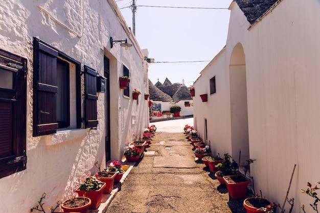Ruas estreitas entre o trulli de alberobello, no sul da itália Foto Premium