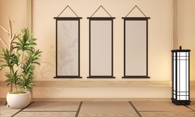 Ryokan room design muito estilo japonês, renderização em 3d Foto Premium