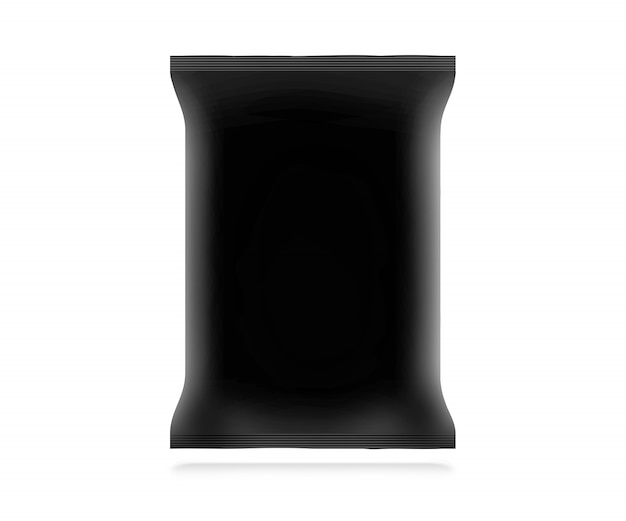 Saco de lanche preto em branco isolado. Foto Premium