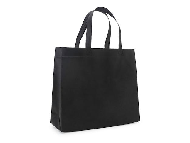 Saco de lona de tecido preto em branco isolado Foto Premium