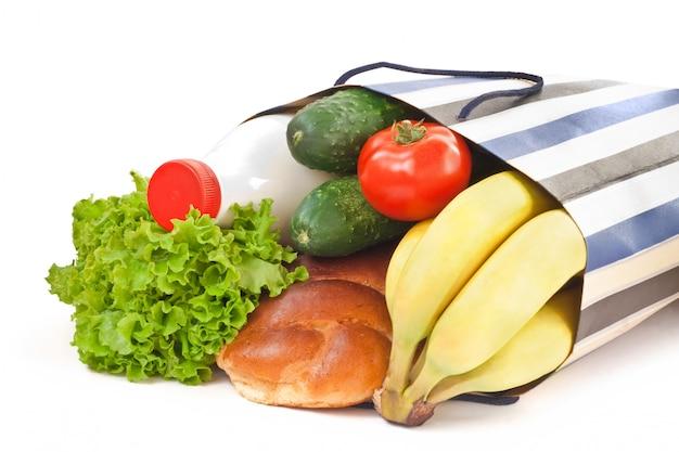 Sacola de compras com comida Foto Premium