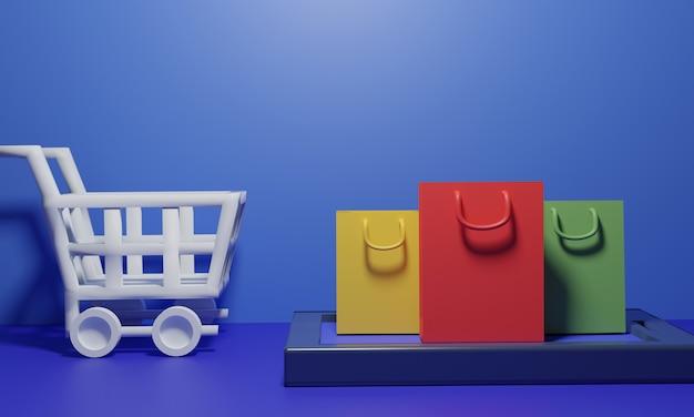 Sacos de compras com carrinho na superfície azul Foto Premium