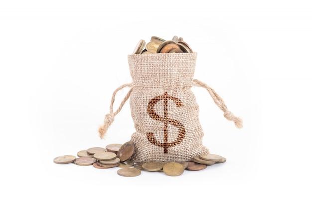 Sacos de dinheiro e moedas em branco Foto Premium