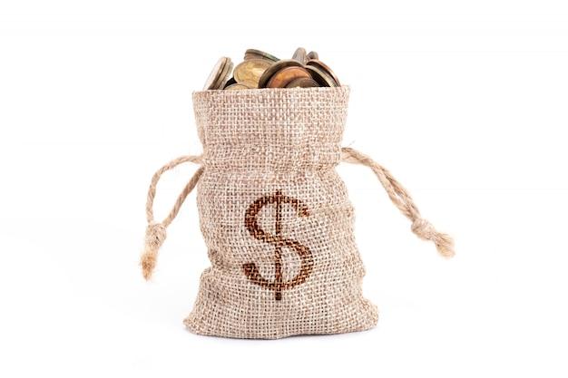 Sacos de dinheiro e moedas isoladas Foto Premium