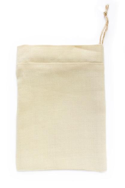 Sacos de sacos pequenos de algodão natural eco, feitos de linho, maquete Foto Premium