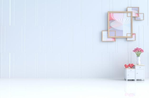 Sala branca da decoração do amor com tulipa, moldura para retrato no dia de valentim. renderização 3d. Foto Premium