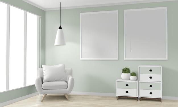 Sala com molduras em branco, armário de madeira design japonês e poltrona. renderização em 3d Foto Premium