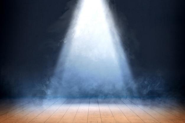 Sala com piso de madeira e fumaça com luz de cima, fundo Foto Premium