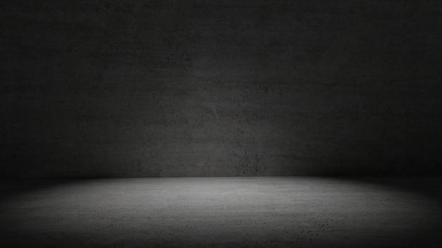 Sala de concreto na luz escura, rodeado de fundo de parede Foto Premium