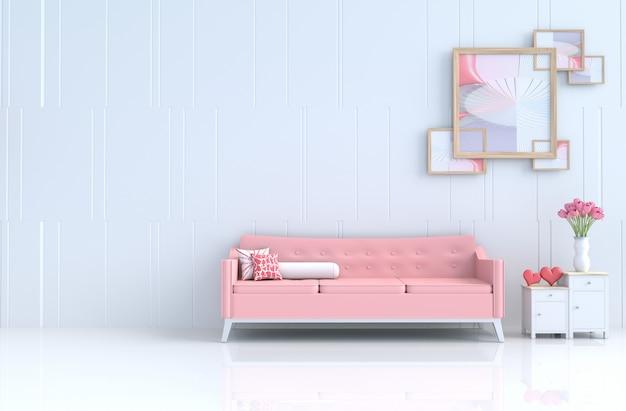 Sala de estar branca do amor no dia de valentim e no ano novo. renderização 3d. Foto Premium