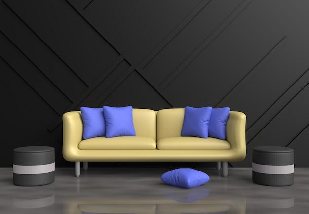 Sala de estar cinza são decoração com sofá amarelo, almofadas azuis, cadeira cinza, parede preta. Foto Premium
