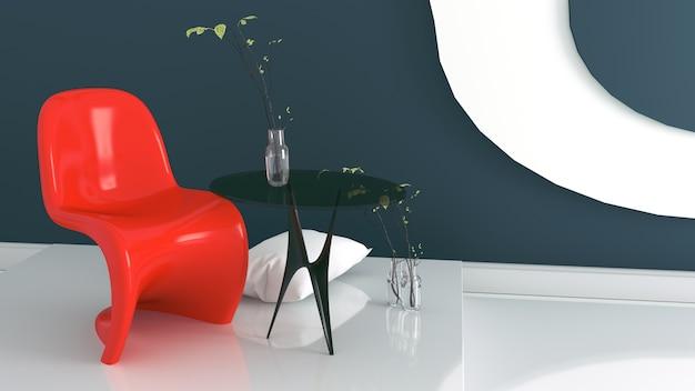 Sala de estar com poltrona vermelha e vaso em fundo de parede azul e branco escuro Foto Premium