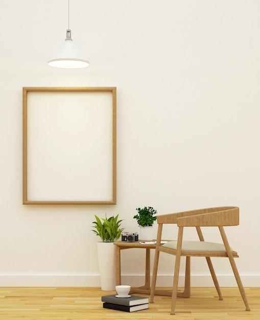Sala de estar e área de biblioteca design limpo - renderização em 3d Foto Premium