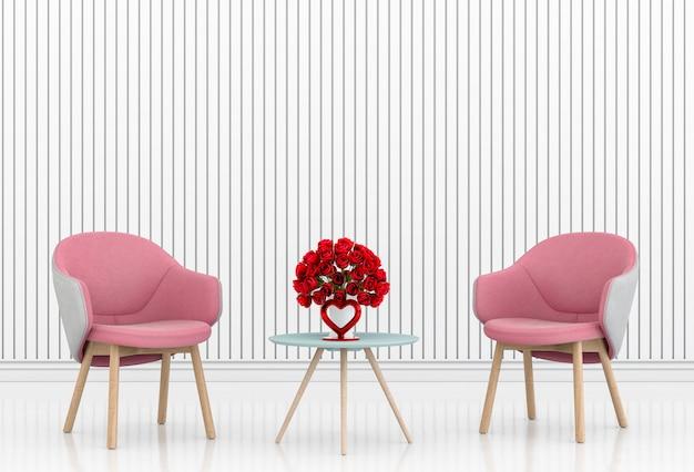 Sala de estar e cadeira design interior 3d ilustração, quarto dos namorados Foto Premium
