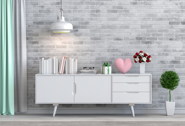 Sala de estar e coração rosa interior design ilustração 3d, quarto dos namorados Foto Premium