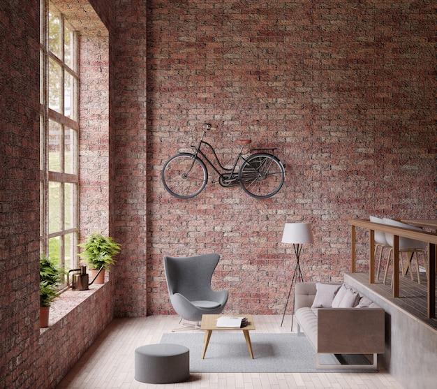 Sala de estar industrial, grande janela, sofá e cadeira, piso de madeira, bicicleta Foto Premium