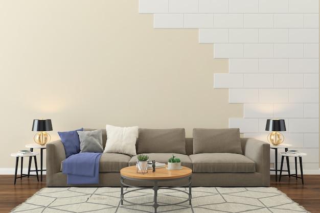 Sala de estar interior casa piso modelo fundo parede de tijolos Foto Premium