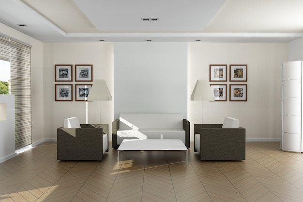 Sala de estar moderna e elegante. as fotos na parede são minhas, então não há problema de direitos autorais Foto Premium