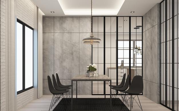 Sala de jantar em estilo loft moderno em casa com concreto e textura de madeira com conjunto de sofás Foto Premium
