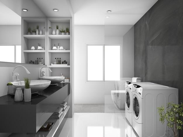 Sala de lavagem e wc moderno preto de renderização 3d Foto Premium