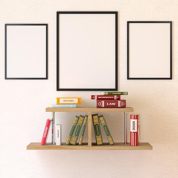 Sala de leitura interior. livros na prateleira. renderização em 3d Foto Premium