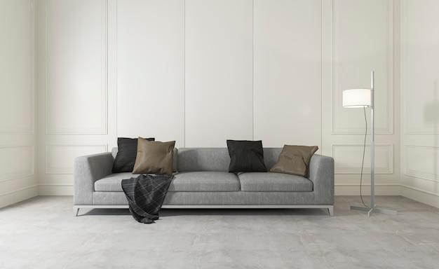 Sala de renderização em 3d sala limpa branca com sofá confortável Foto Premium