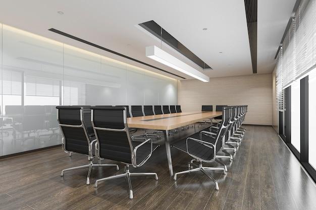 Sala de reunião de negócios de renderização 3d no prédio de escritórios altos Foto Premium
