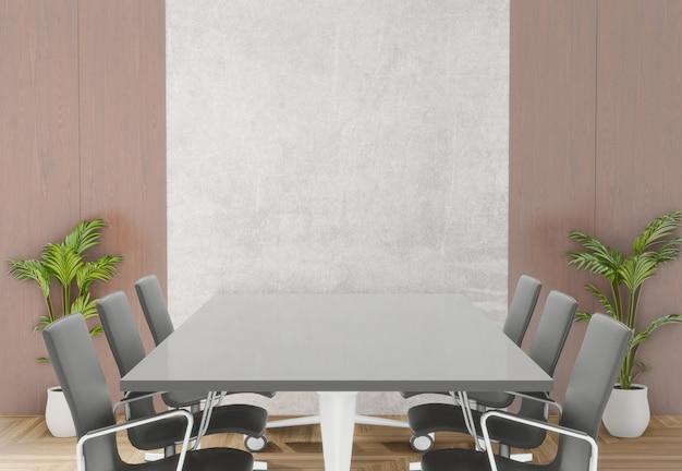 Sala de reunião de renderização 3d com cadeiras, mesa e pequena árvore Foto Premium
