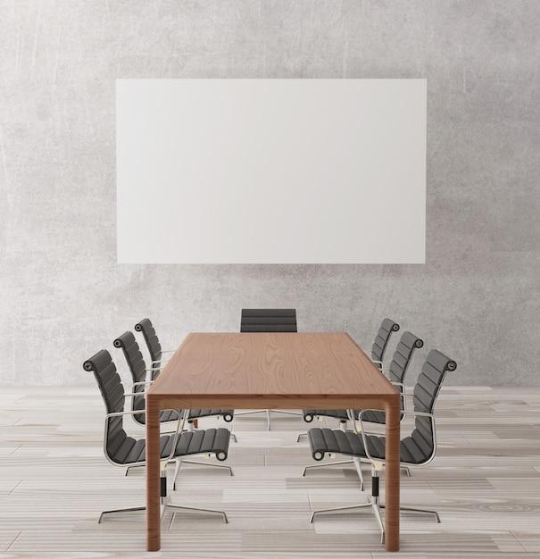 Sala de reunião vazia com cadeiras, mesa de madeira Foto Premium
