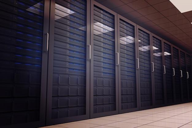 Sala de servidor gerada digitalmente com torres Foto Premium