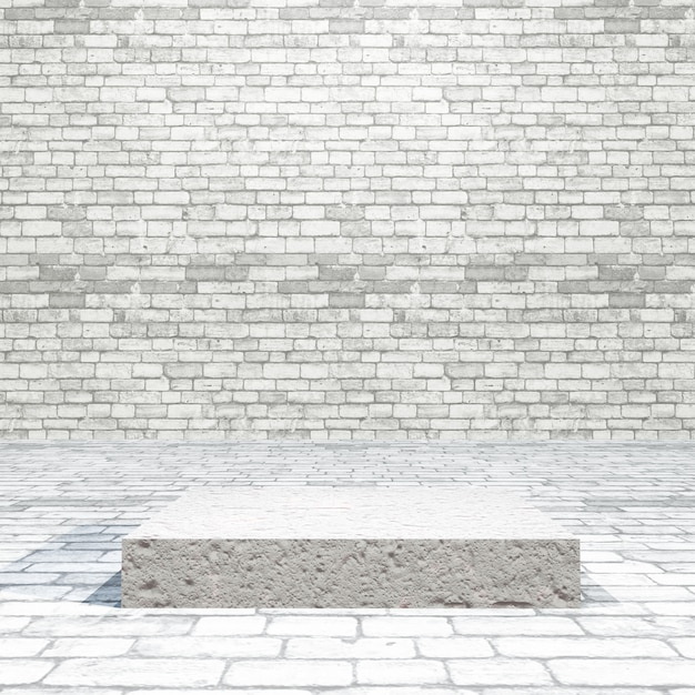 Sala de tijolos 3d com pódio vazio Foto gratuita