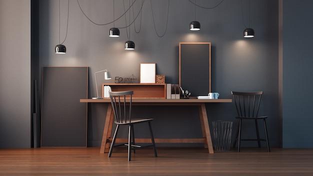 Sala de trabalho e escritório moderno interior / renderização 3d Foto Premium