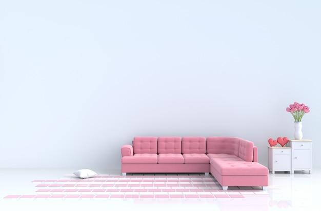 Sala de visitas branca do sofá vermelho da decoração do amor, coração vermelho. dia dos namorados e ano novo. Foto Premium