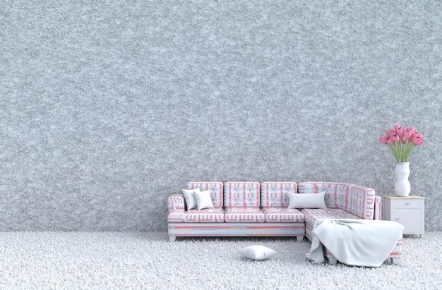 Sala de visitas branca no dia de valentim & no ano novo, sofá cor-de-rosa listrado, telhas, tulipas. 3d render Foto Premium
