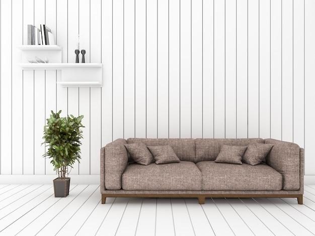 Sala de visitas de madeira branca da rendição 3d com o sofá e a prateleira frescos mínimos Foto Premium