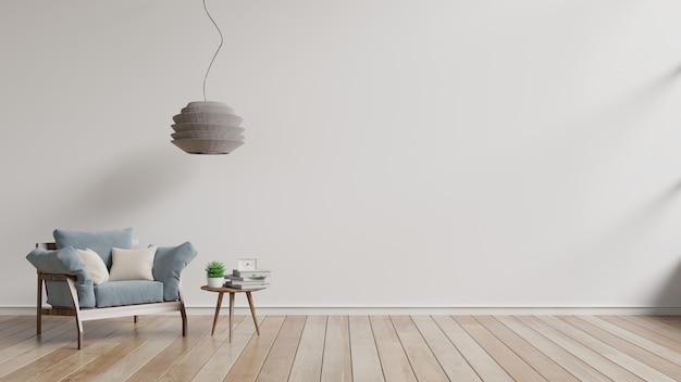 Sala de visitas moderna com as prateleiras azuis da poltrona e da madeira no revestimento de madeira e na parede branca. Foto Premium
