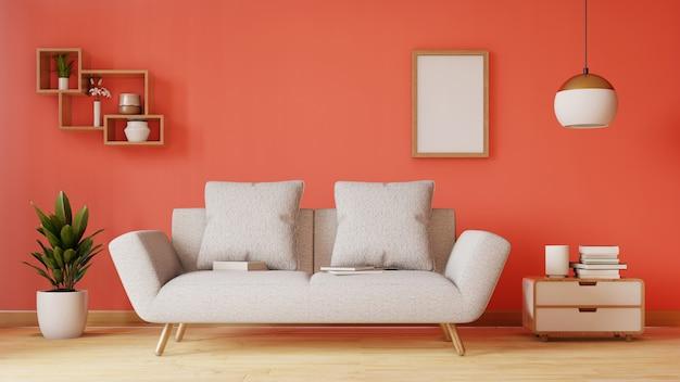 Sala de visitas vazia com o sofá, a lâmpada e as plantas azuis da tela. renderização em 3d Foto Premium