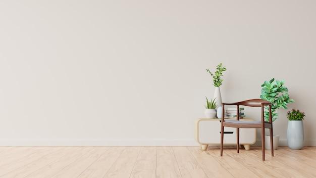 Sala interior com decoração na parede branca vazia Foto Premium
