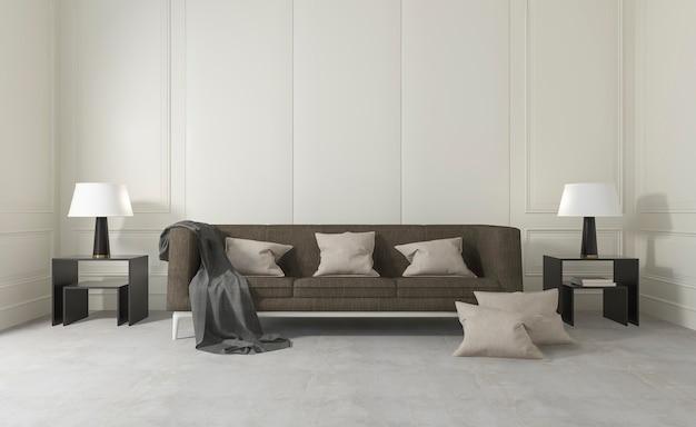 Sala limpa branca com sofá confortável e lâmpada Foto Premium