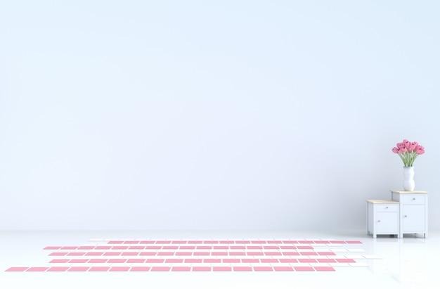 Sala vazia branca do amor no dia de valentim e no ano novo. renderização 3d. Foto Premium